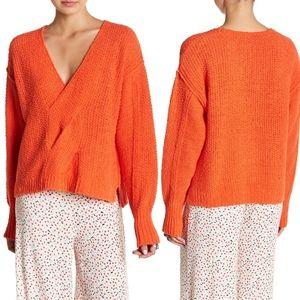 NWT Free People XS Coco Knit V-Neck Sweater Orange